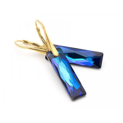 Cercei Bermuda Blue Queen Baguette  - Gold