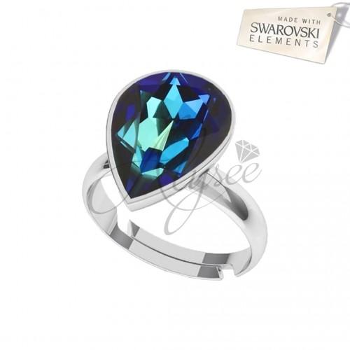 Inel Fancy Pear Bermuda Blue