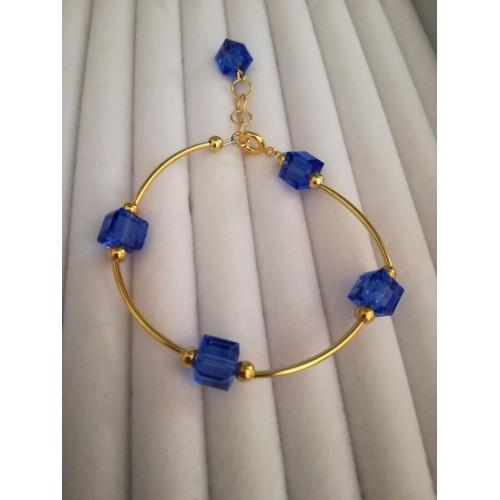 Bratara Sapphire Cube - Gold