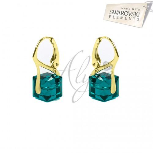 Cercei Cube Emerald Gold