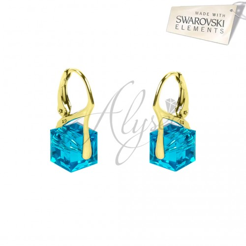 Cercei Cube Turquoise Gold