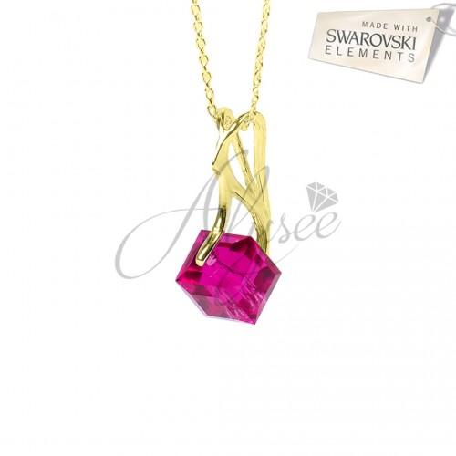 Pandantiv Cube Fuchsia Gold