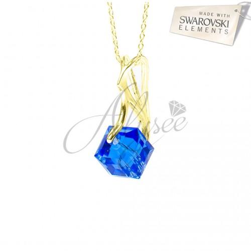 Pandantiv Cube Saphire Gold