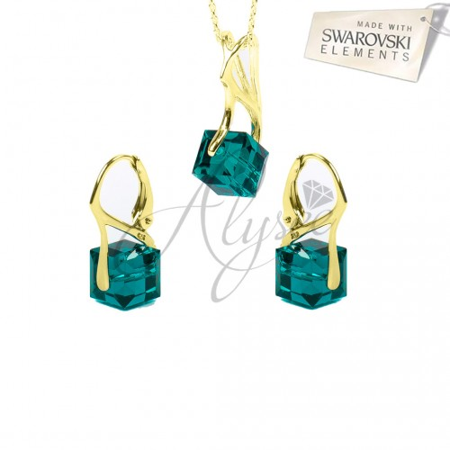Set Cube Emerald Gold