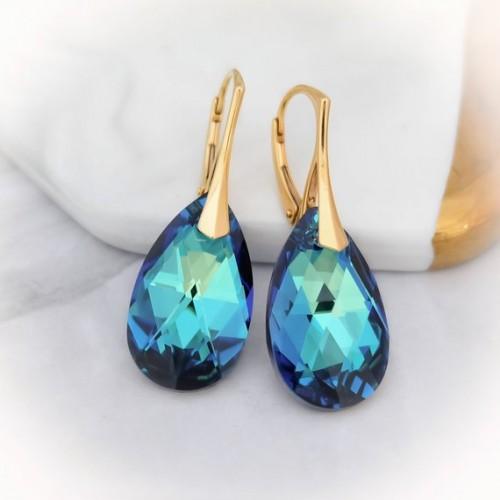 Cercei Bermuda Blue Pear - Gold