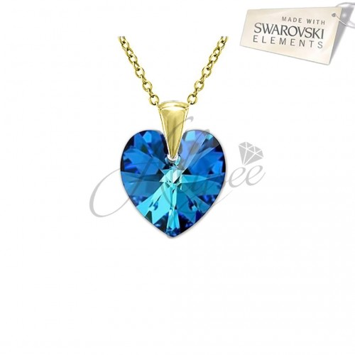 Pandantiv Heart Bermuda Blue Gold