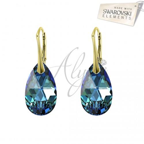 Cercei Pear Bermuda Blue Gold