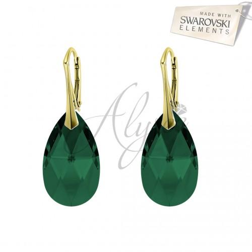 Cercei Pear Emerald Gold