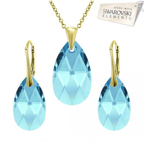 Set Pear Aquamarine Gold