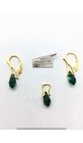 Set Emerald Teardrop - Gold