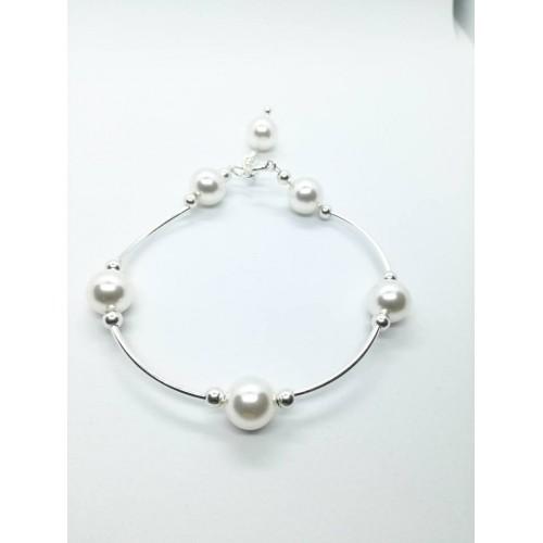 Bratara White Pearl