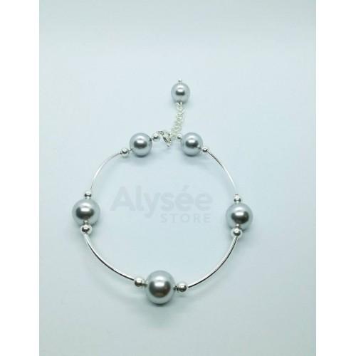 Bratara Swarovski Pearls -  Grey Pearl