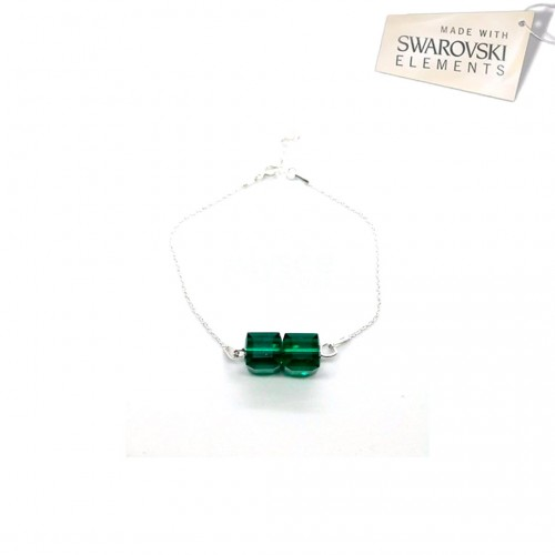 Bratara Swarovski elements - Emerald Cube 2