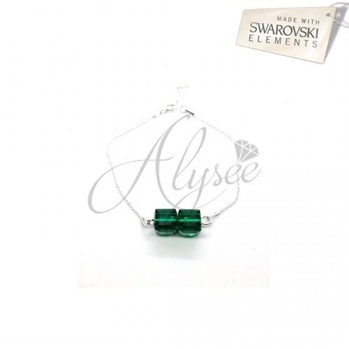 Bratara Swarovski elements - Emerald Cube 2